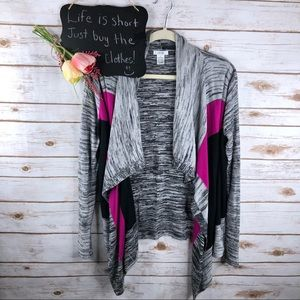Cache colorblock open front waterfall cardigan